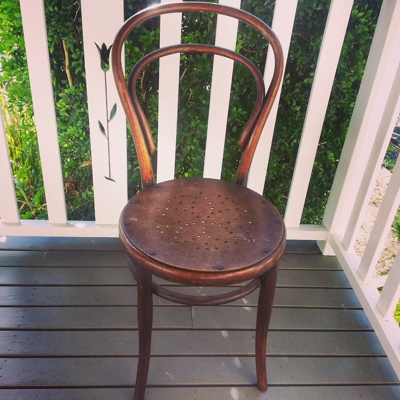 vintage bentwood bistro chair on deck