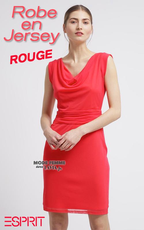 Robe courte rouge en jersey Esprit