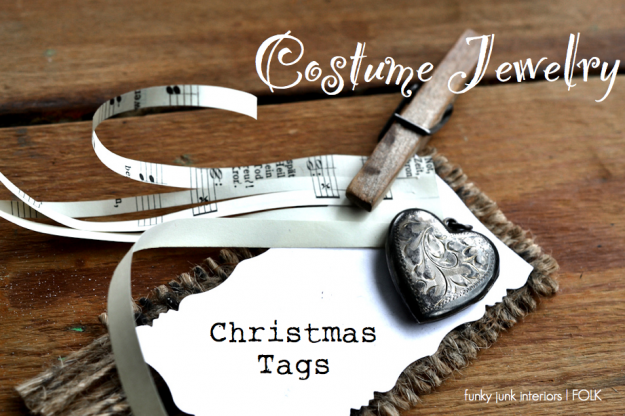 Making memorable Christmas tags out of costume jewelry, via Funky Junk Interiors featured on FOLK Magazine's blog