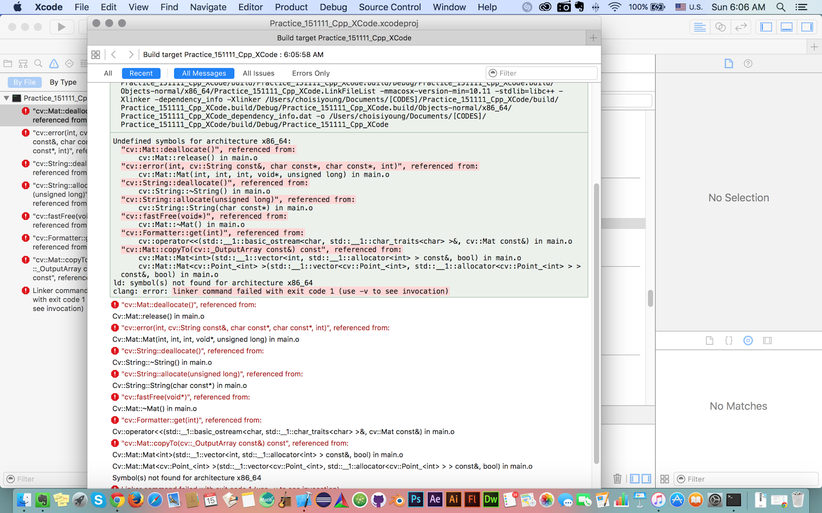 Xcode Opencv Undefined Symbols For Architecture X8664