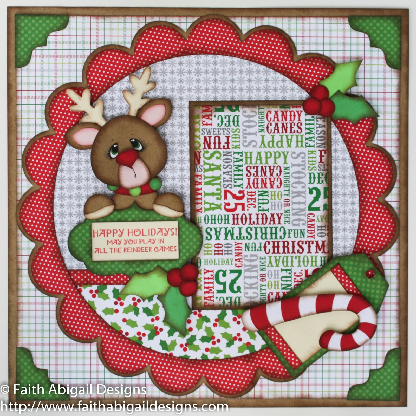 Scrapbook ideas black background - The Large Scalloped Background Was Cut At 11 25 The Reindeer Was Cut At 5 5 And His Facial Features Were Hand Sketched With A Black Ink Pen