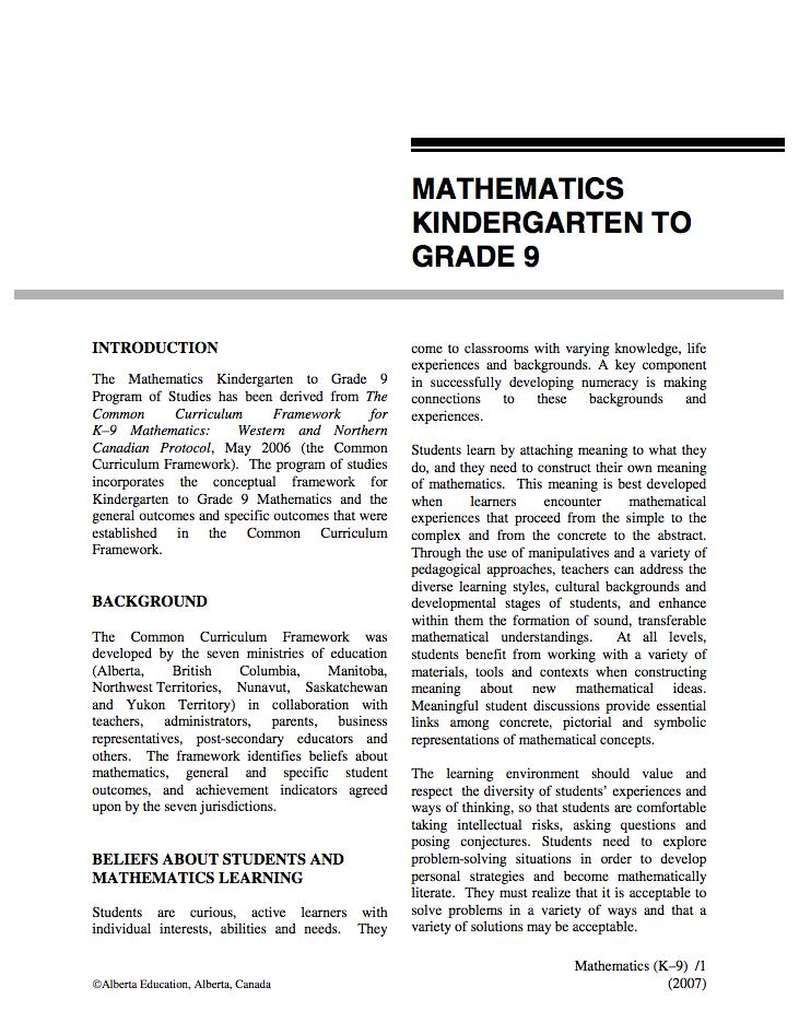 alberta program of studies math pdf