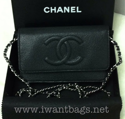 Chanel CC Logo Caviar Wallet on Chain (WOC) -Black