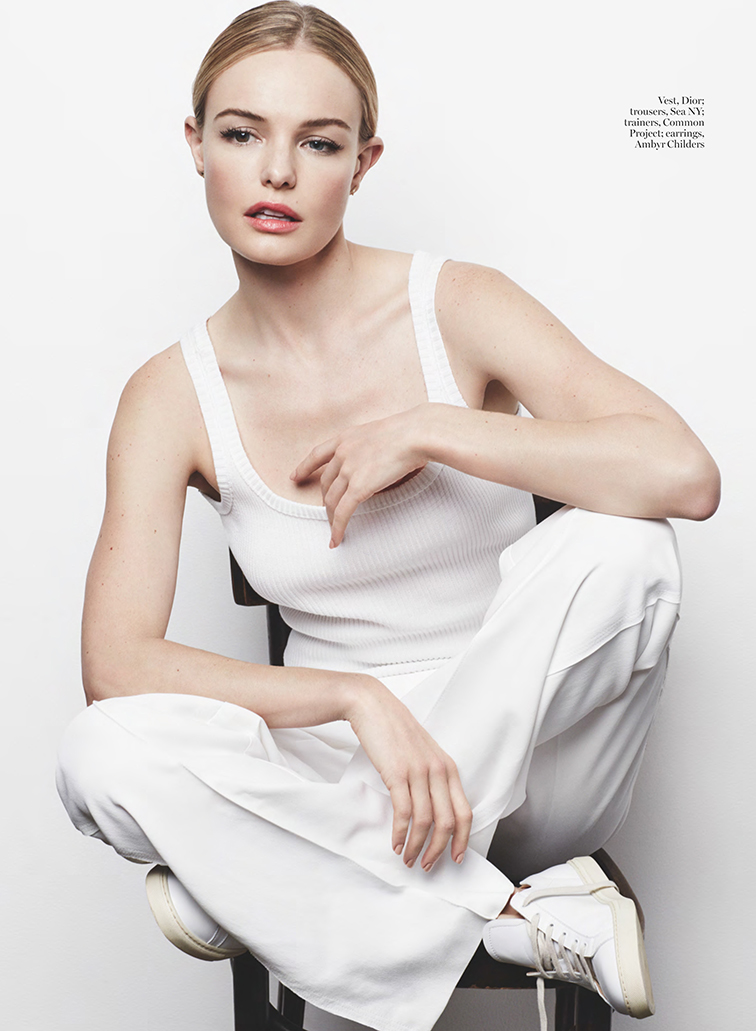 Kate Bosworth for Marie Claire UK March 2015 photographed by David Roemer, styled by April Hughes, monochromatic, all white, Common Project sneakers, Dior vest a