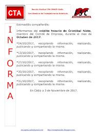 C.T.A. INFORMA CRÉDITO HORARIO CRISTOBAL NIETO, OCTUBRE 2017