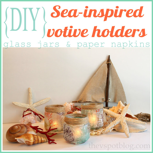 Easy DIY - Make coastal inspired candle holders using glass jars and paper napkins.