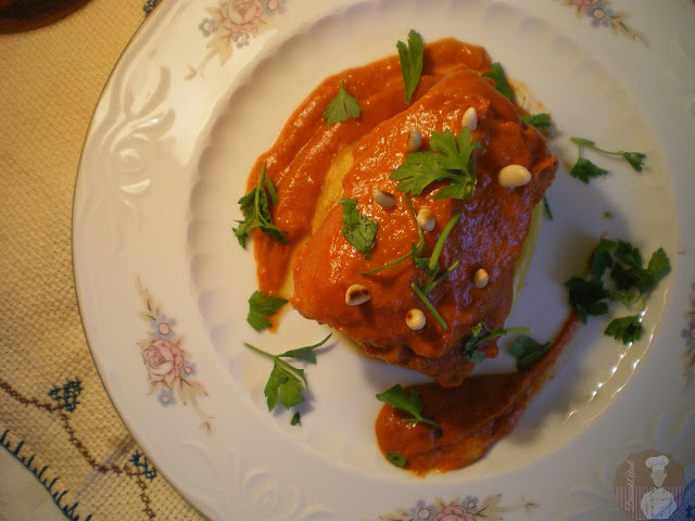 Bacalao a la vizcaína sobre patata confitada