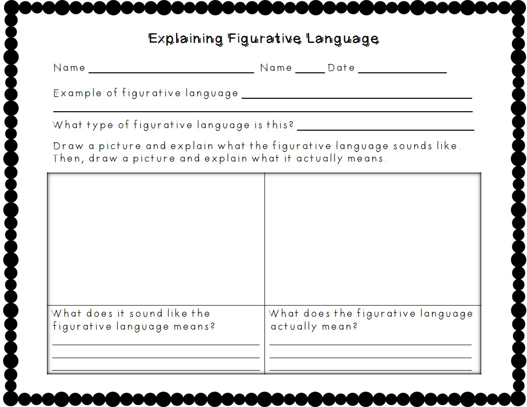 Figurative language review worksheet 3rd grade