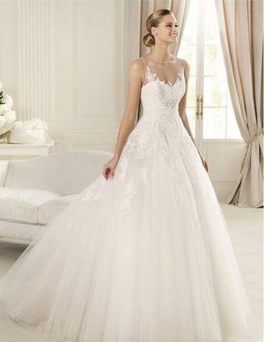 2015 Glistening Ball Gown Sheer Sleeveless with Appliques and Lace and Tulle Floor Length Bridal Dress online cheap prices