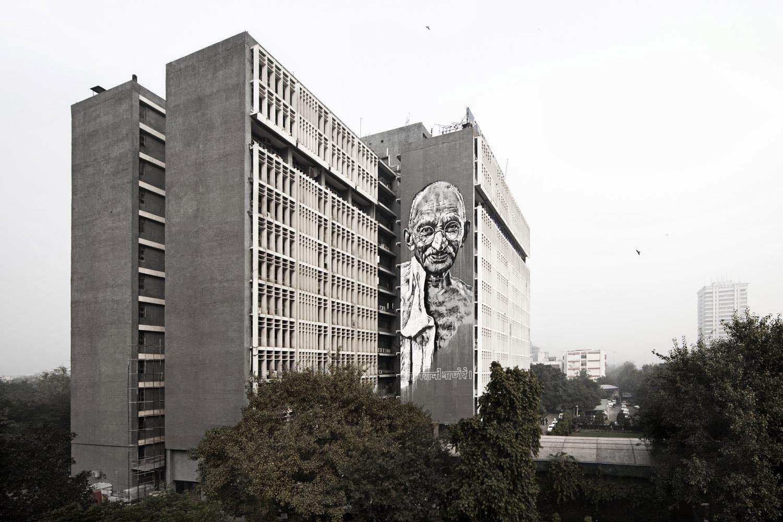 "German Artist ECB Paints a new street art mural of ""Gandhi"" on the streets of New Delhi, India. 1"