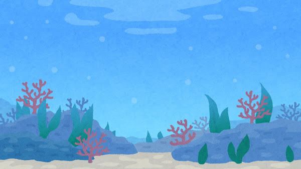 海の中のイラスト(背景素材)
