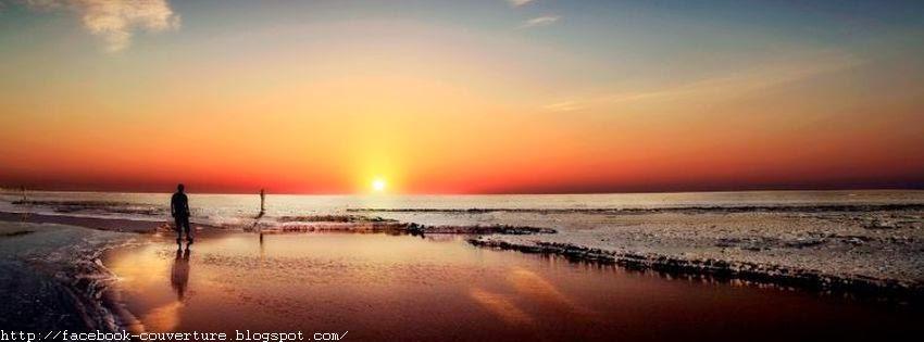 Jolie couverture facebook plage en coucher de soleil