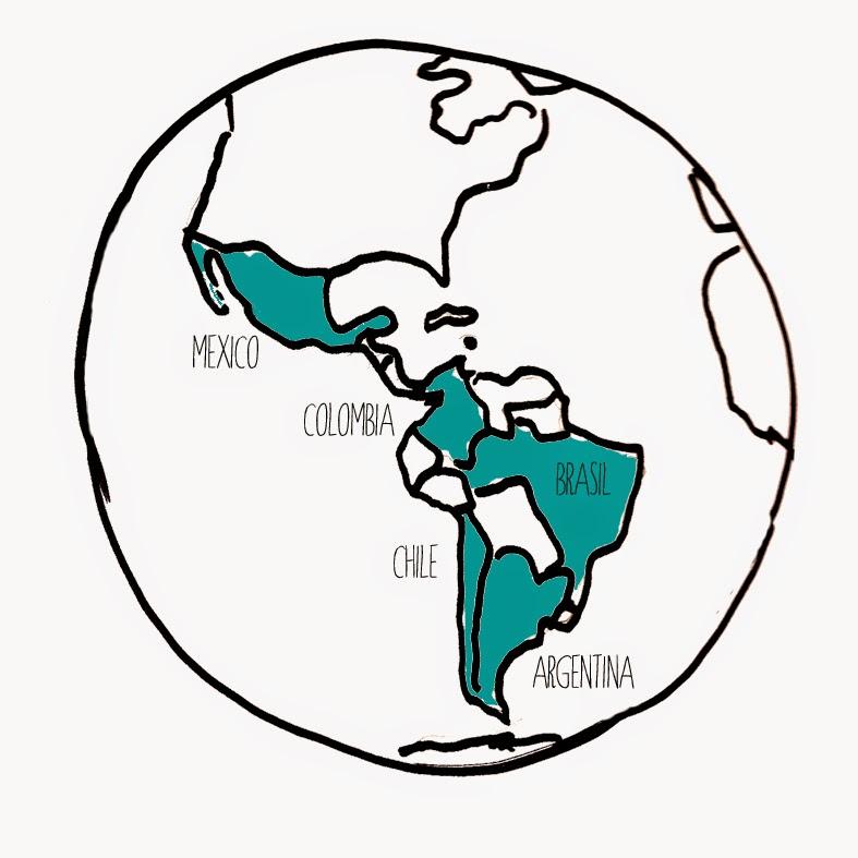 Dibujo mapa mundi areas de actuación