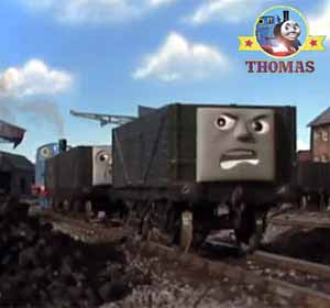 James Thomas the train grouched biffed the old wooden truck crossly around the loading railroad yard