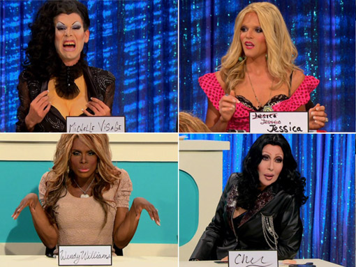 Snatch Game Contestants Michelle Visage, Jessica Simpson, Wendy Wiliams and Cher