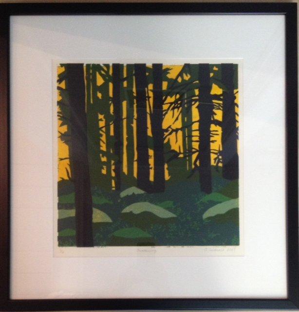 prints, lino cuts, lino print, Amanda Caldwell, landscape, trees