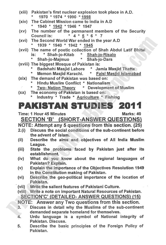Pakistan-Studies-2011-five-year-paper-class-XII