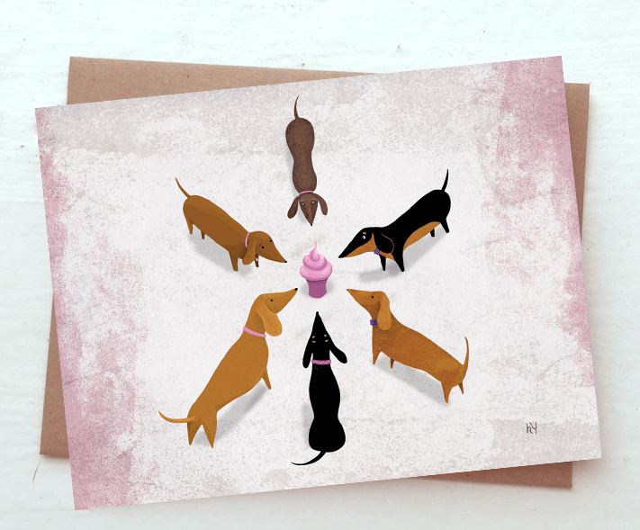 Heidi younger illustration dachshund birthday cards available dachshund birthday cards available m4hsunfo