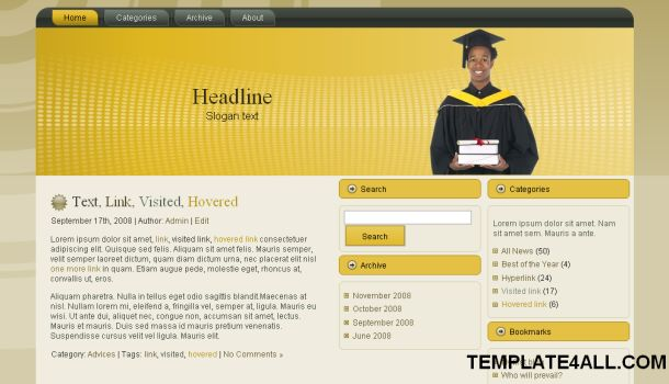 Free Wordpress Brown Education Theme Template