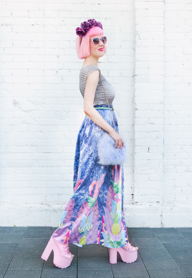 maxi skirt, pastel look, tropical prints