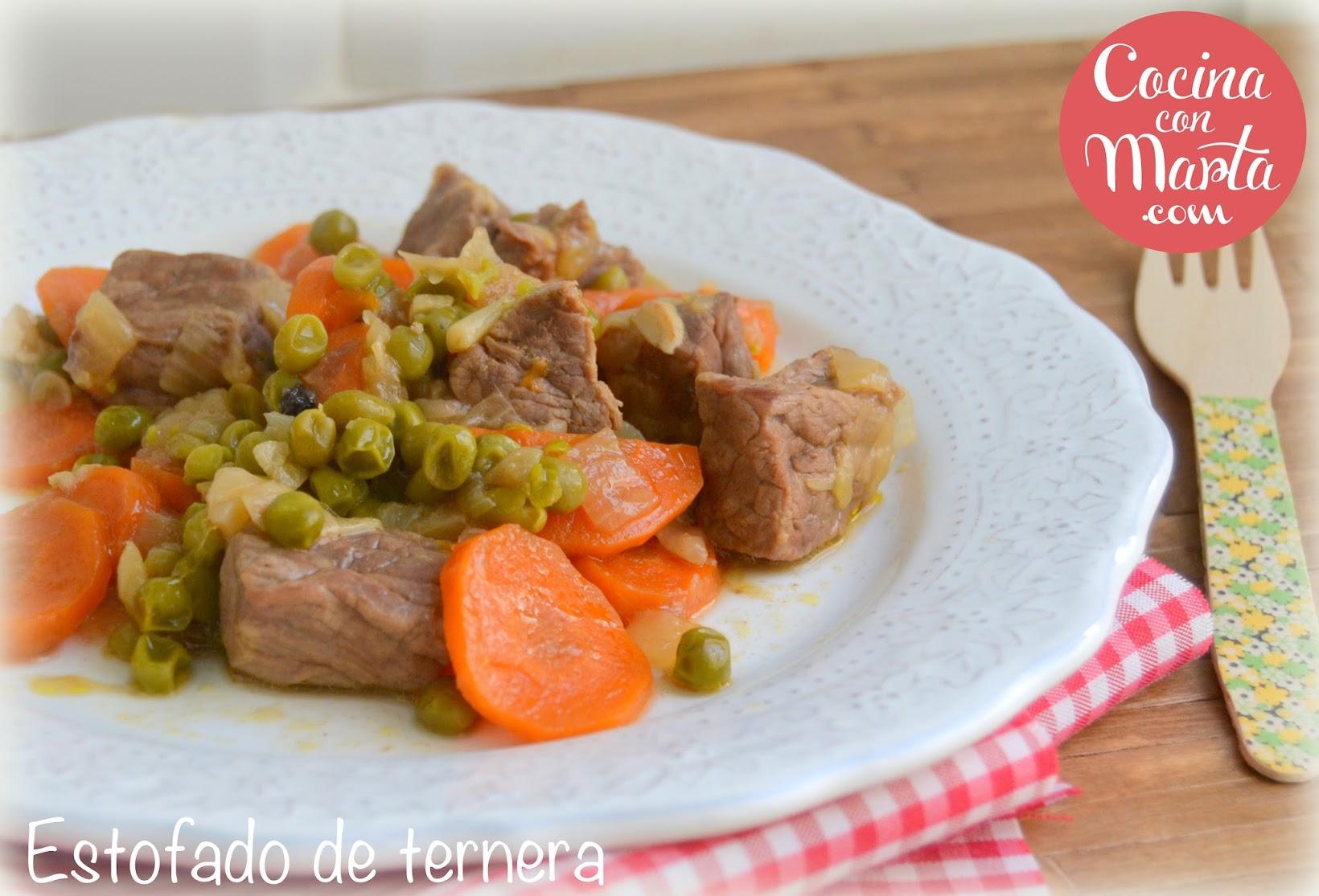 Estofado de ternera, receta casera, zanahorias, guisantes, verduras, vino, Olla GM, Cocina con Marta, fácil, rápida, casero
