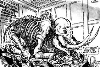 Pat Oliphant: Republican crazies eat the dinosaur pig.
