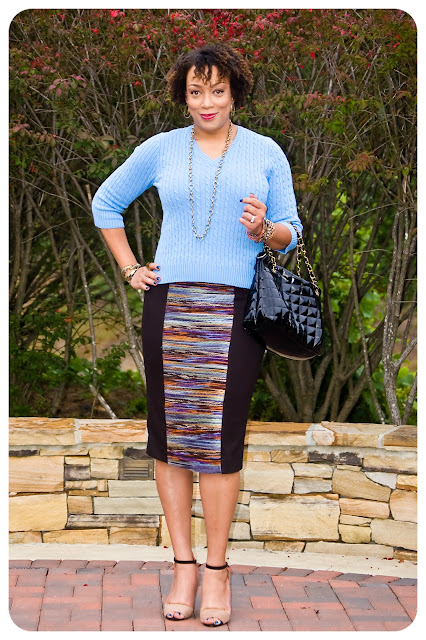 knit panel pencil skirt