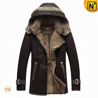 Mens Hooded Shearling Coat