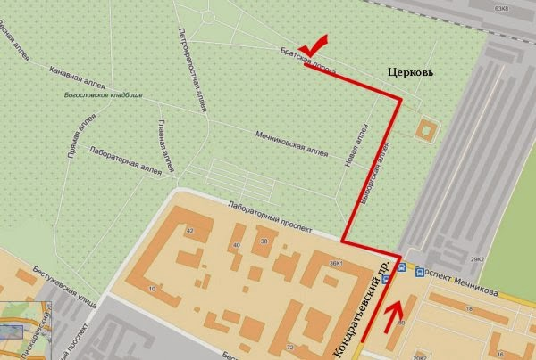 схема пути к могиле Виктора Цоя
