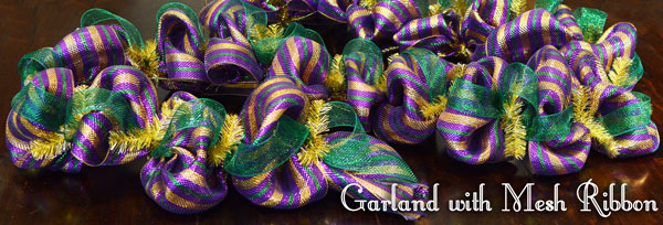 Mardi Gras garland complete with ribbon and deco mesh