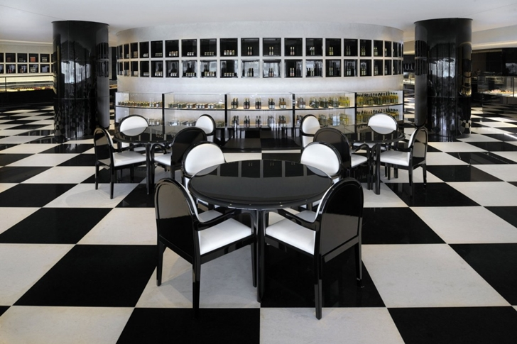 Black and white dining room in Armani Burj Khalifa Hotel Dubai