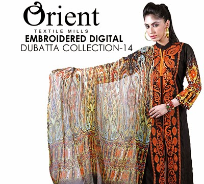 Orient Textile Embroidered Digital Dubatta Collection 2014