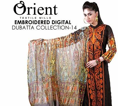 Orient Textile Embroidered Digital Dubatta Collection 2014
