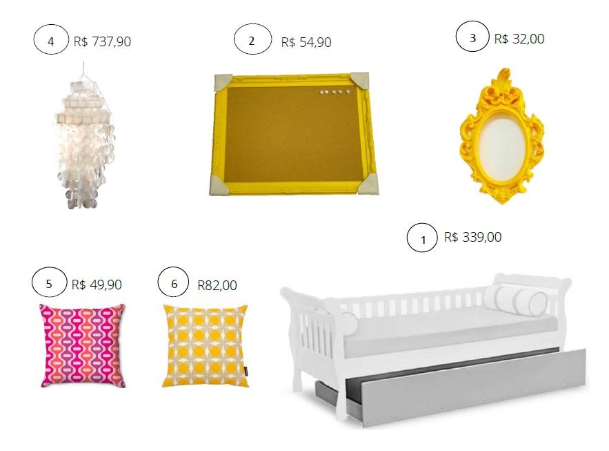 Itens para decoração de quarto de meninas pink e amarelo