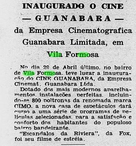 Salas de cinema, Cinema Antigo, Vila Santa Isabel, Vila Formosa, Zona Leste de São Paulo, bairros de São Paulo, história de São Paulo