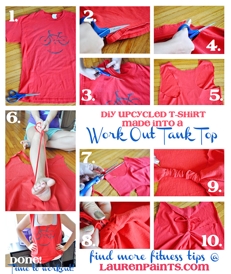 DIY Upcycled T-shirt - Make an old t-shirt into something new and awesome to work out in!