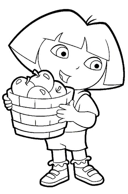 صورة طفل يحمل سلة فاكهة التفاح للتلوين