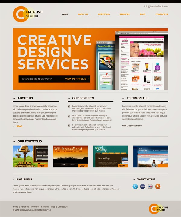 Sleek Minimal Website Template PSD