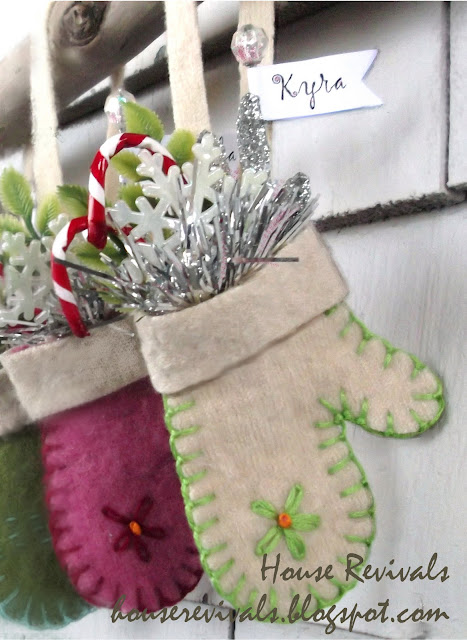 small mitten ornaments with stitched detailing