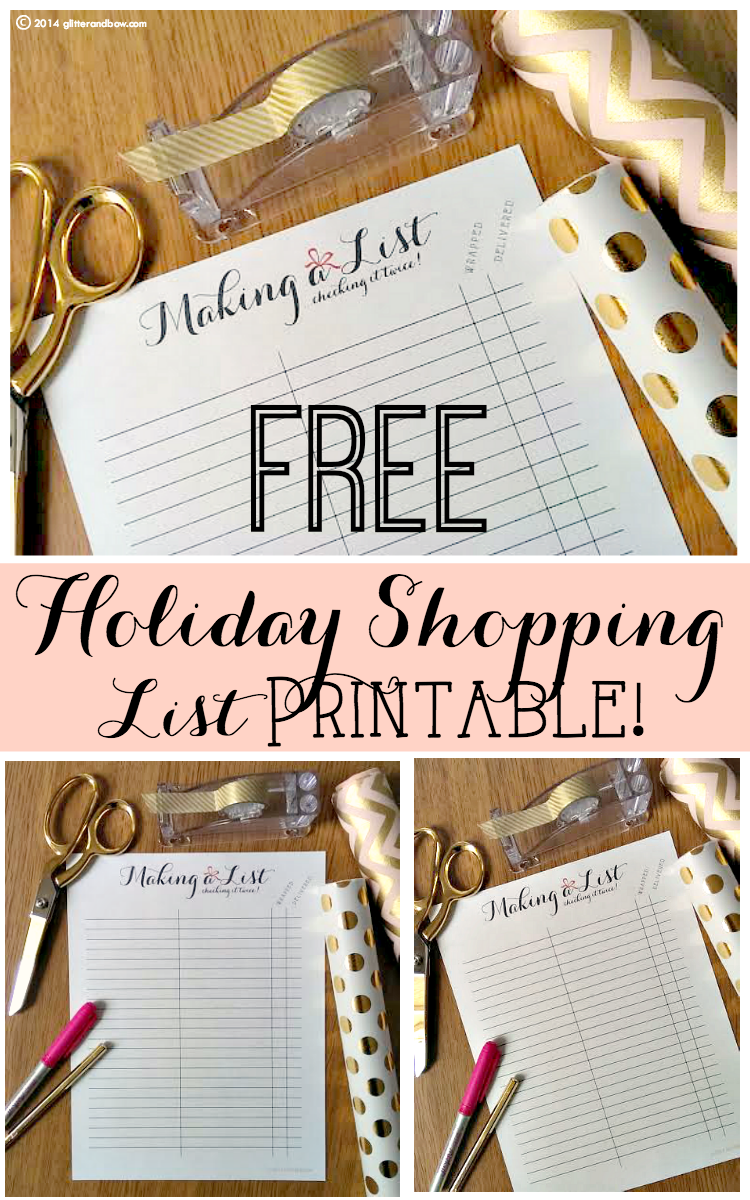 FREE Printable Holiday Shopping List!