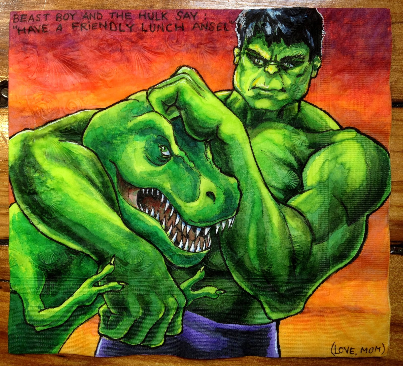Daily Napkins The Hulk Gives Beast Boy A Noogie