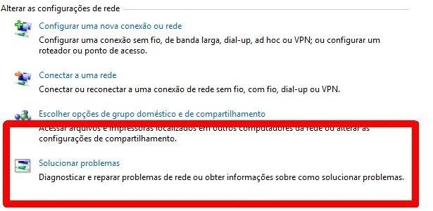 Dignóstico de rede do Windows