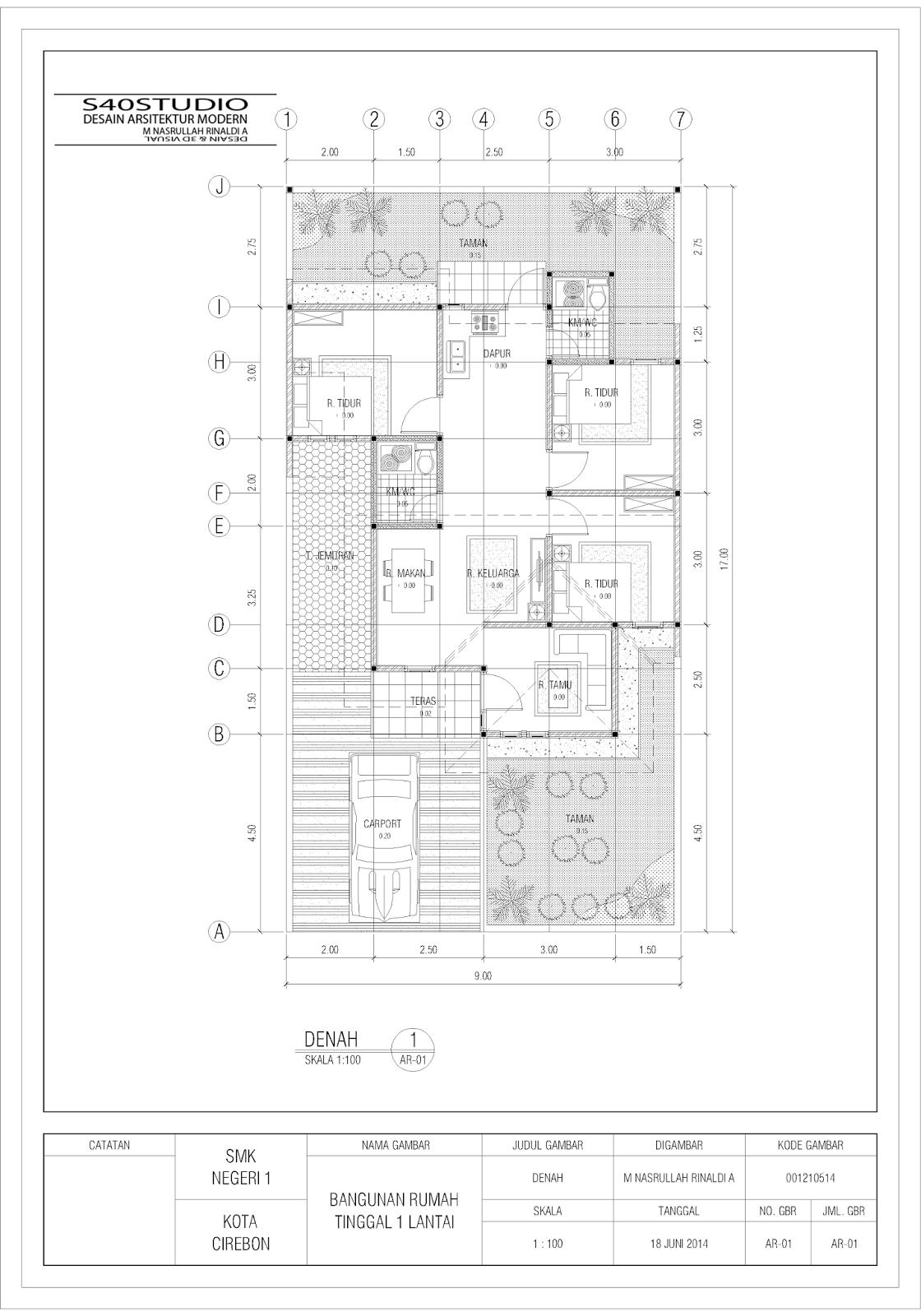 Desain Rumah 9 X 17 Meter DESAIN RUMAH MINIMALIS MODERN S40studio