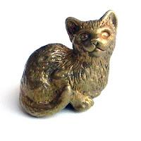 купить бронзовые фигурки кот кошка статуэтка миниатюра латунь