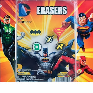 DC Comics erasers display back