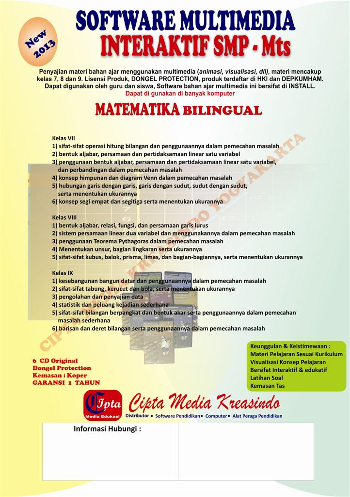 CD SOFTWARE MULTIMEDIA INTERAKTIF (APLIKASI SUMBER BELAJAR MATEMATIKA