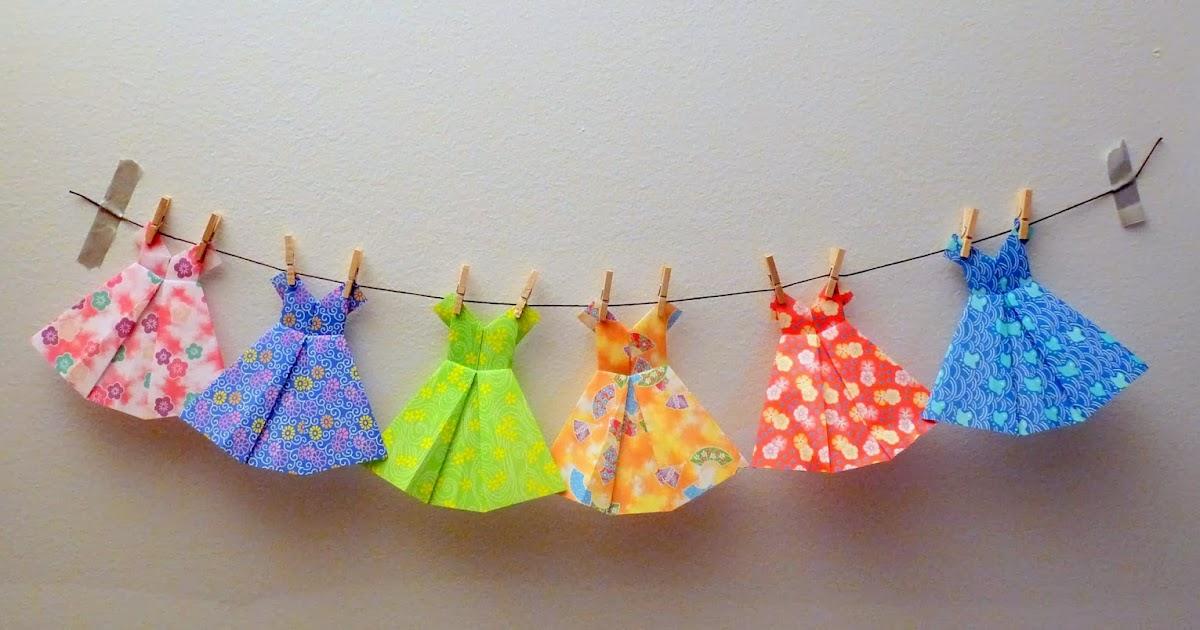 lolo bricolo calendrier de l 39 avent 2013 case 1 guirlande de robes en origami. Black Bedroom Furniture Sets. Home Design Ideas