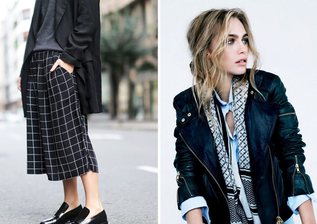 Culotte trends, how to wear, spring, summer, inspiration, silk scarf, minimal, sportive