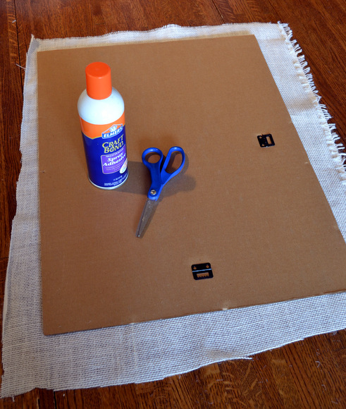 Start by adding burlap to the frame backing