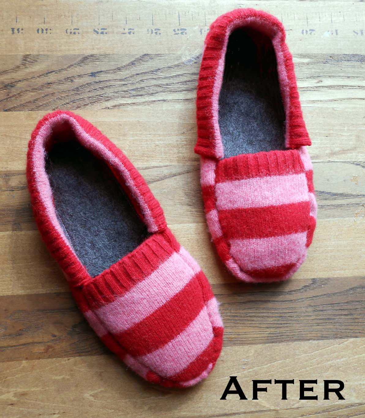 How to sew slippers from old slippers and towels 4